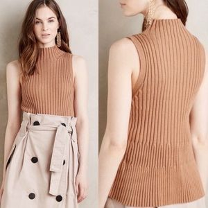 Anthropologie Moth Ribbed Turtleneck Tank size S
